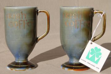 Wade Irish Coffee cups set, tall mugs made in Ireland pottery, mint w/ tag