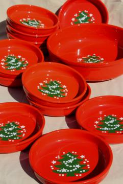 Waechtersbach Christmas Tree pattern pottery pasta bowls set for 12, holiday red & green