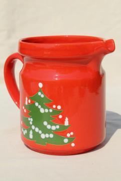 Waechtersbach Christmas tree red & green pitcher, vintage holiday serveware