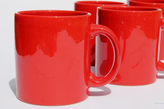 Waechtersbach Pottery Mugs Plain Solid Red Coffee Cups Set Of Four