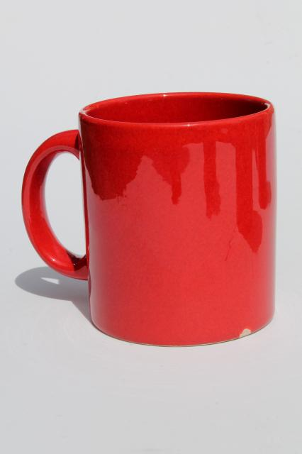 Waechtersbach Pottery Mugs Plain Solid Red Coffee Cups