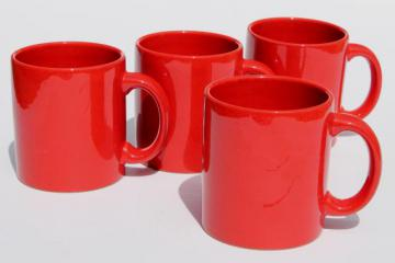 Waechtersbach pottery mugs, plain solid red coffee cups set of four