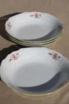 Waldsassen Bareuther Bavaria china soup bowls, embossed lattice w/ pink roses