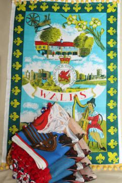 Wales tea towels turned banner flags w/ popcorn ball fringe trim