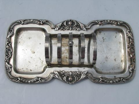 & Wallace - Georgian vintage silver plate breakfast stand toast rack tray