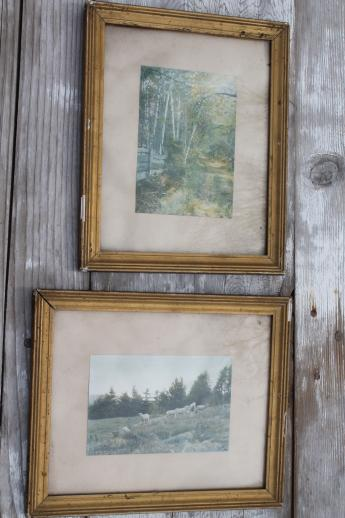 Wallace Nutting Vintage Photo Prints In Antique Gold Wood