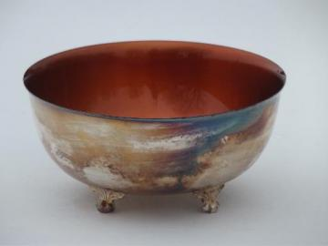 Wallace color clad silver plate revere bowl, copper colored enamel