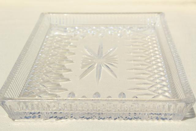 Waterford crystal Lismore pattern sandwich serving tray or vanity table tray