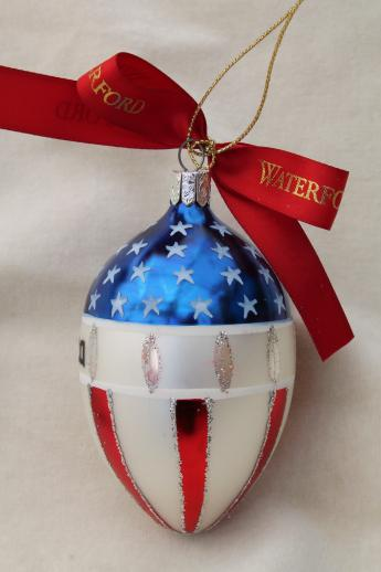 Waterford glass Christmas ornaments, God Bless America flag, red ball & green ball