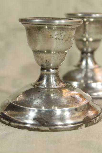 Watrous weighted sterling silver candle holders, vintage low candlesticks pair