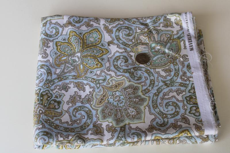 Waverly Inspirations blue yellow cream paisley print cotton decorator fabric