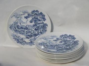 Wedgwood Countryside, 10 dinner plates, blue/white vintage china