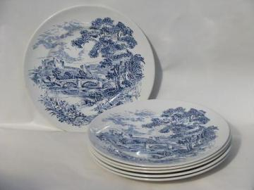 Wedgwood Countryside, 6 dinner plates, blue/white vintage china