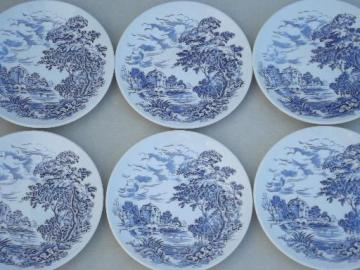 Wedgwood Countryside blue & white china bread & butter plates, set of 6