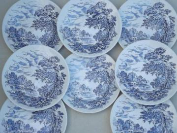 Wedgwood Countryside blue & white china bread & butter plates, set of 8