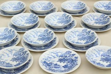 Wedgwood Countryside blue & white china bread & butter plates and fruit bowls