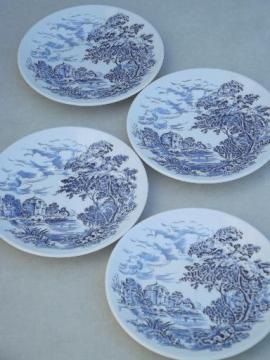 Wedgwood Countryside blue & white china bread & butter plates, set of 4