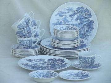 Wedgwood Countryside blue & white china, plates, bowls, cups and saucers