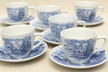 Wedgwood Countryside blue & white china, shabby tea cups & saucers, toile print