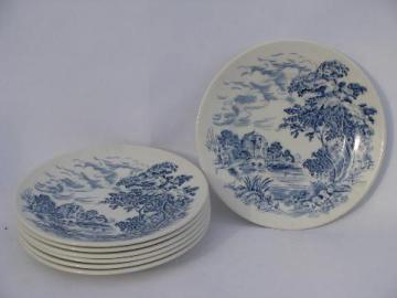 Wedgwood Countryside, lot of bread & butter or dessert plates, vintage blue/white china