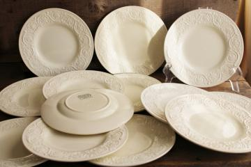 Wedgwood Patrician embossed border creamware china plates, 1930s vintage