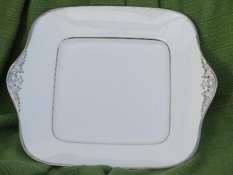 Wedgwood Sterling china, square cake plate w/ handles, platinum trim