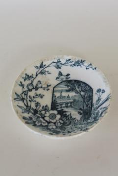 Wedgwood china butter pat plate antique Edinburg blue & white aesthetic vintage transferware
