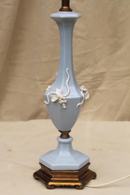 Wedgwood jasperware lavender blue white vintage table lamp w wedgwood jasperware lavender blue white vintage table lamp w applied grapes mozeypictures Images