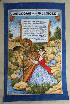 We'll Keep a Welcome in the Hillsides, Welsh song tea towel, vintage souvenir of Wales