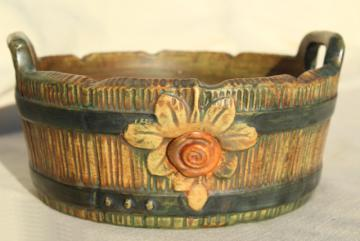 Weller pottery wooodrose, vintage planter flower pot made as wood barrel bucket