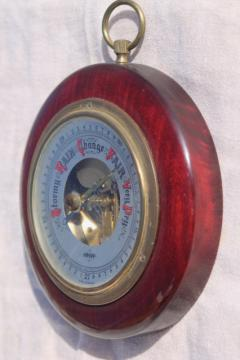 West Germany vintage Swift barometer working weather gauge in small round frame
