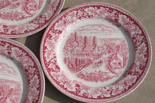 Western Farmeru0027s Home vintage Currier u0026 Ives red transferware Homer Laughlin china plates & Western Farmeru0027s Home vintage Currier u0026 Ives red transferware Homer ...