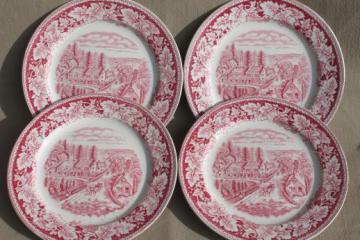 Western Farmer's Home vintage Currier & Ives red transferware Homer Laughlin china plates