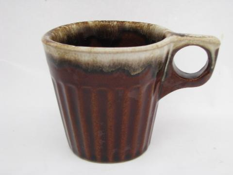 Western Pottery Vintage Brown Drip Stoneware Lot Of 4 Coffee Cups Mugs