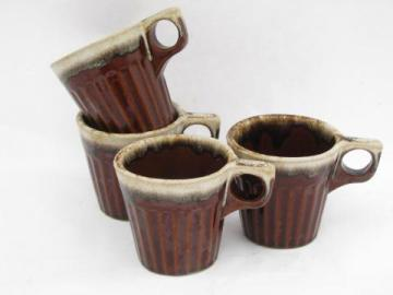 Western pottery vintage brown drip stoneware, lot of 4 coffee cups / mugs