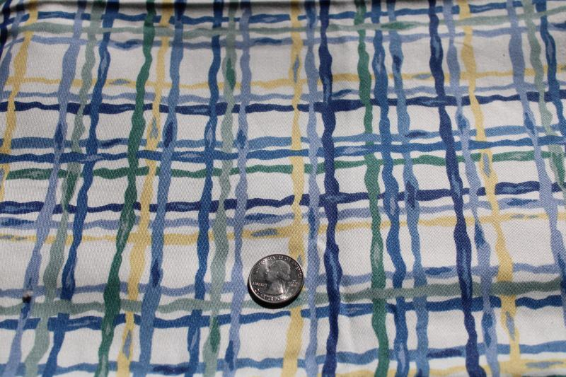 Western textiles vintage decorator cotton fabric, basketweave print in blue, sage, yellow