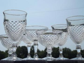 Westmoreland English hobnail glass glasses, water goblets, champagnes