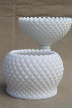 Westmoreland English hobnail pattern milk glass rose vase & flower bowl compote