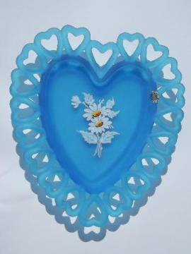 Westmoreland hand-painted blue satin glass heart lace edge plate