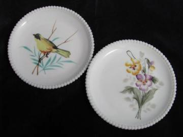 Westmoreland hand-painted plates, bird and pansies, beaded edge milk glass