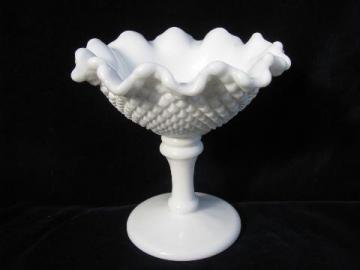Westmoreland milk glass, english hobnail diamond point pattern candy dish
