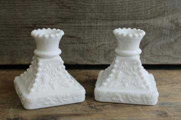 Westmoreland paneled grape pattern square candlesticks, vintage milk glass