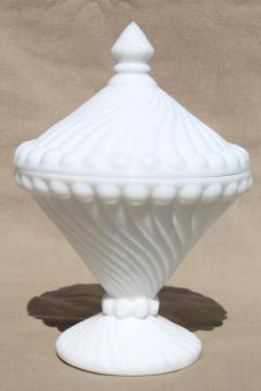 Westmoreland swirl & ball pattern glass candy dish, vintage milk glass