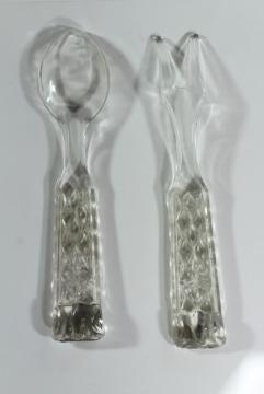 Wexford Anchor Hocking vintage pres-cut pressed glass salad spoon & fork servers