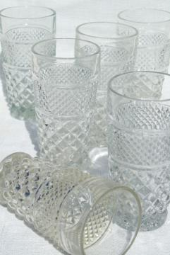Wexford waffle pattern, crystal clear glass tumblers, vintage Anchor Hocking