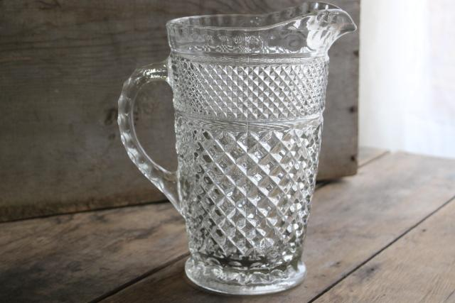 Wexford waffle pattern glass pitcher, vintage Anchor Hocking pressed glass