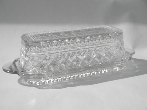 Wexford waffle pattern pressed glass covered plate butter dish w/ cover
