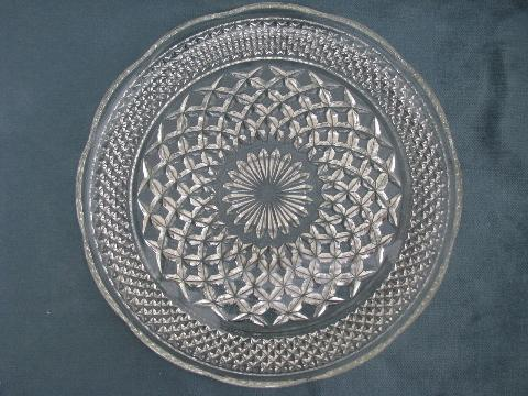 Wexford waffle pattern pressed glass dinner plates vintage Anchor Hocking & waffle pattern pressed glass dinner plates vintage Anchor Hocking