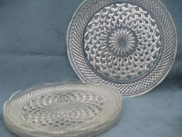 Wexford waffle pattern pressed glass dinner plates, vintage Anchor Hocking