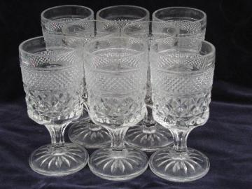 Wexford waffle pattern pressed glass goblets, claret wine glasses, Anchor Hocking